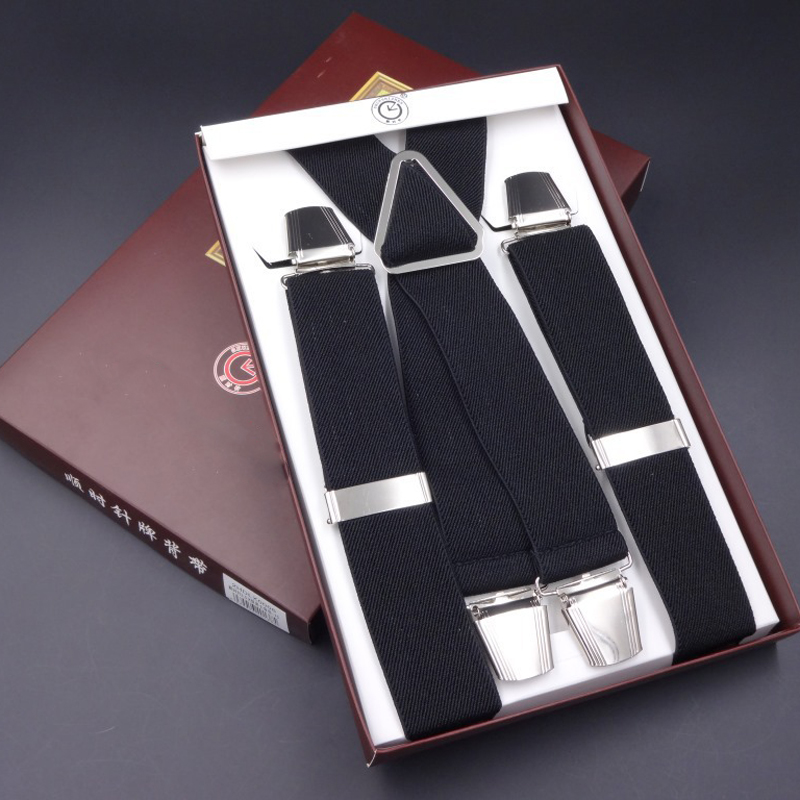 High Quality Gift Box Men Suspenders Vintage Adjust Large Size Elastic Braces 4 Clip-on Clothing Accessories For Father Husband