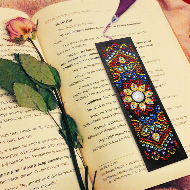 HUACAN 5D Diamond Painting Bookmark Special Shaped Diamond Art Embroidery Cross Stitch Leather Tassel Book Marks