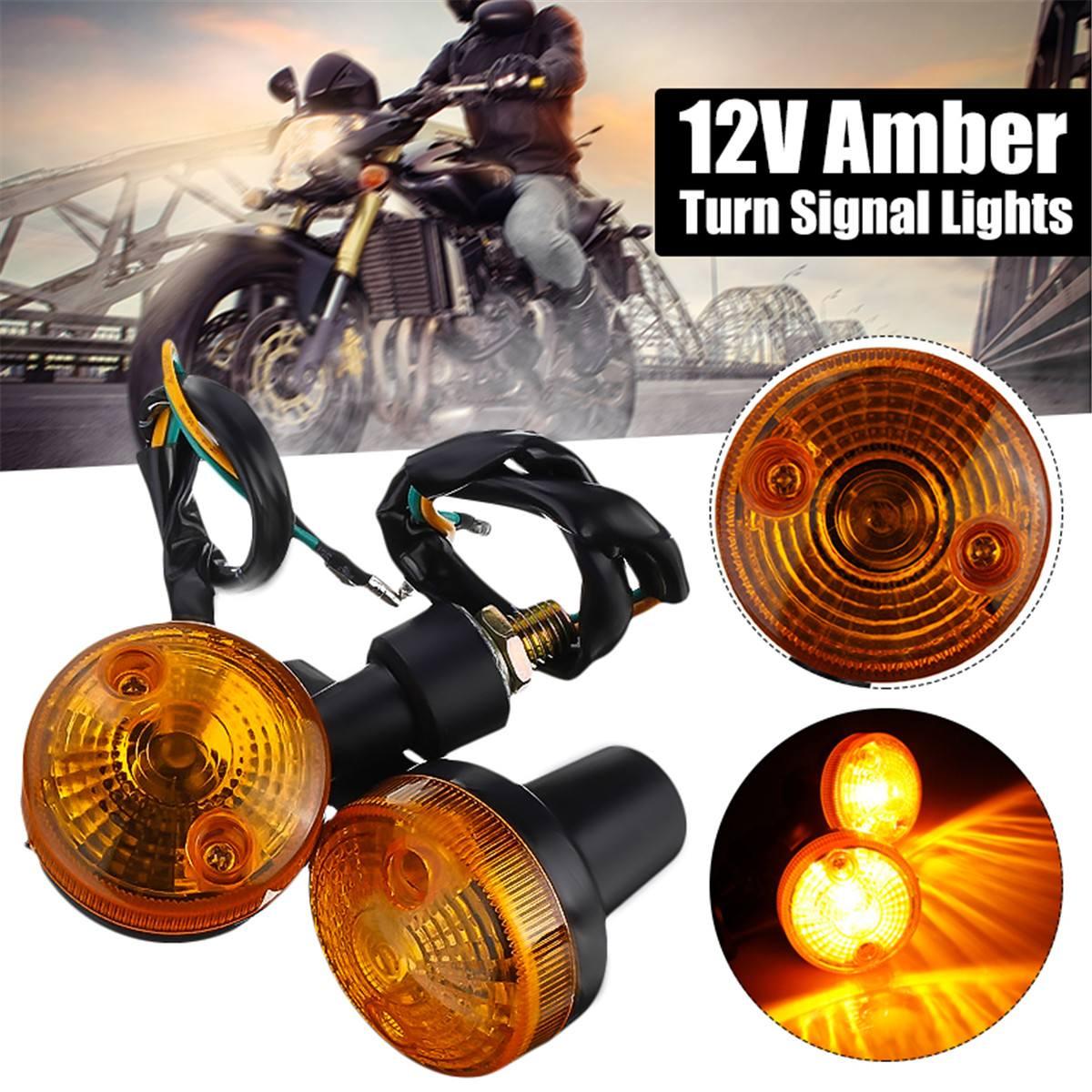 Universal Pairs 12V Auto Car Motorcycle Turn Signal Light Direction Indicator Lamp Amber For Honda/Kawasaki/Suzuki New