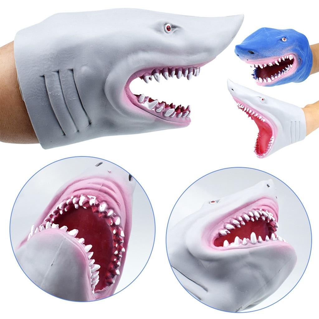Thermoplastic rubber shark hand puppet anim…