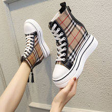 Height Increasing Insole 8cm Canvas Shoes 2021spring New Korean Style Leisure Platform White Shoes Casual Platform Sneakers