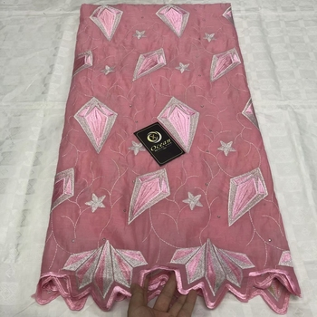 New hot popular fashion design african lace fabric pink guipure cord water soluble swiss voile for dress 5yards