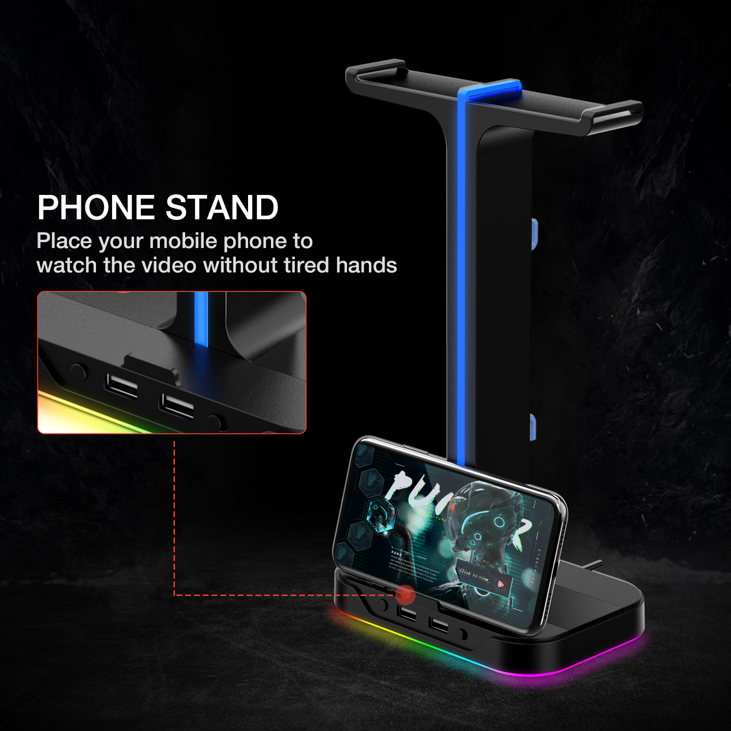 Havit RGB Gamer Headphone Stand with 2 USB Charger Ports 6