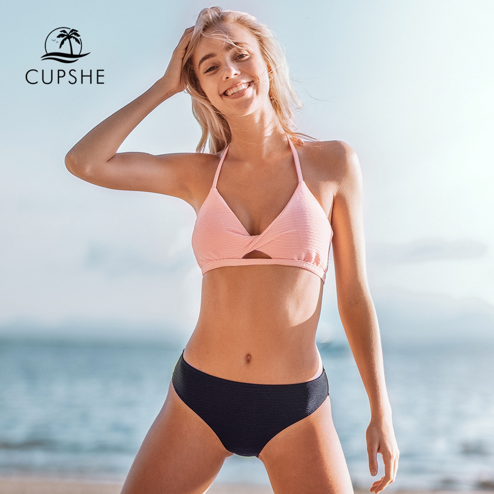 CUPSHE Textured Pink And Navy Halter Bikini Sets Sexy V-neck Cut Out Swimsuit Two Pieces Swimwear Women 2020 Beach Bathing Suit