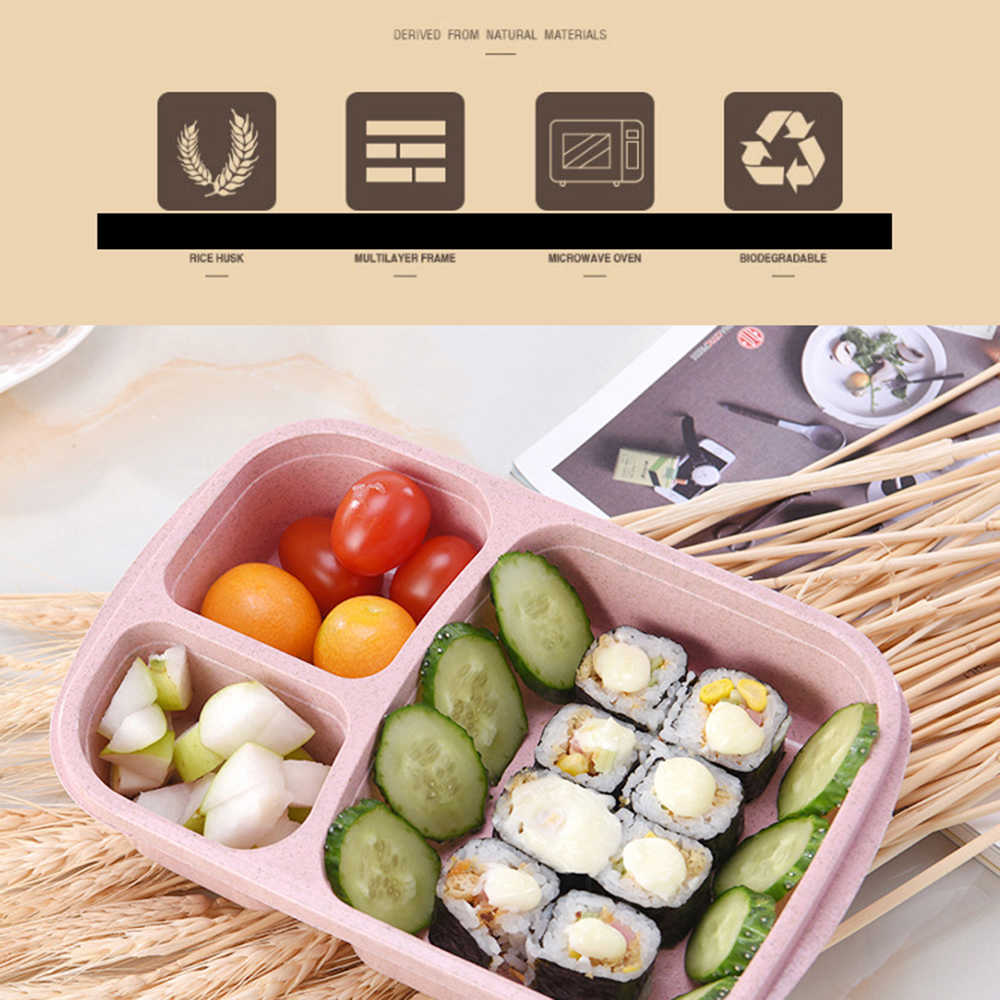 Portable Healthy Material Lunch Box Wheat Straw Bento Boxes Microwave Dinnerware Food Storage Container Foodbox household item