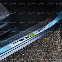 Для Hyundai Kona автомобильные аксессуары Дверная педаль подоконника накладка протектор Сталь отделкой стайлинга автомобилей Авто Стикеры 2018 ...
