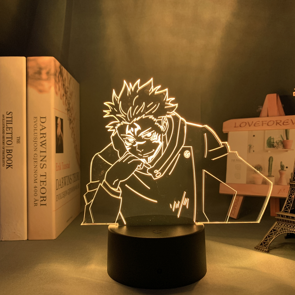 Lâmpada de anime yuji itadori jujutsu kaisen led noite luz para presente de aniversário jujutsu kaisen yuji itadori lâmpada transporte da gota