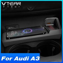Vtear-cargador inalámbrico Qi de 15w para coche, accesorios para Audi A3, 8v, piezas de modificación Interior, placa de carga rápida para teléfono 2014-2021
