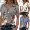 Fashion Floral Print Blouse Shirt Loose Sexy V-Neck Tops Tee Summer Casual Ladies Top Female Women Short Sleeve