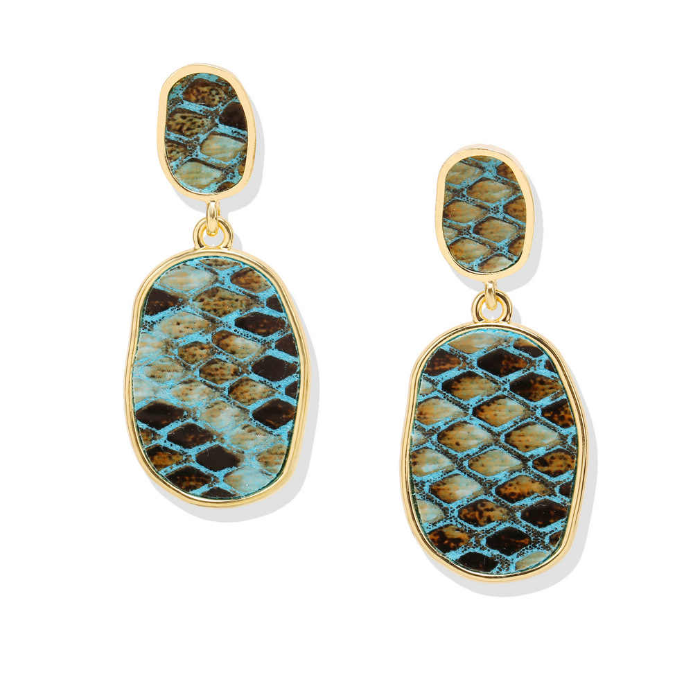 GZBEIYANG Vintage Earrings Snake Stitching Leather Geometric Earrings for Women Girls 2019 Personality Jewelry Earrings Gifts