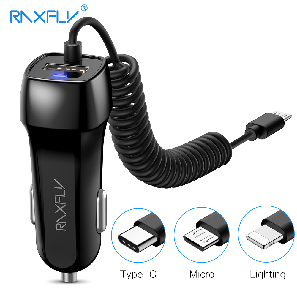 RAXFLY Dual USB Car Charger Car-charger For iPhone XS Max Phone Charge Adapter Micro USB Type C For Samsung Xiaomi Redmi Note 7