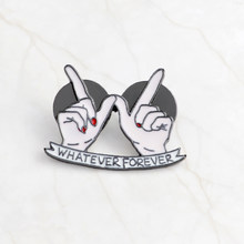 WHATEVER FOREVER Heart in Hand Pin BFF Lover Brooch Button Pins Denim Jackets Pin Badge Cartoon Fashion Jewelry Gift(China)