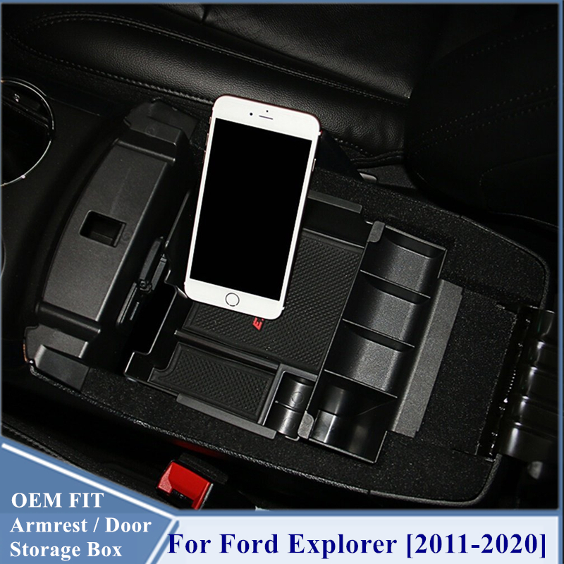 Car Center Console Armrest Storage Box Extra Tray For Ford Explorer 2011-2019
