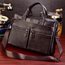 Business Laptop Bag Men Genuine Leather Handbags Male Leathe