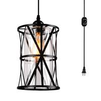 Mini Industrial Pendant Light Fixtures Black Farmhouse Hanging Lights Glass Shade Lamp for Kitchen Dining Room Hallway Bedroom
