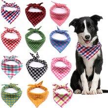 100 Uds./lote Bandanas de algodón a cuadros para perros, bufandas ajustables grandes para perros, accesorios de aseo para perros