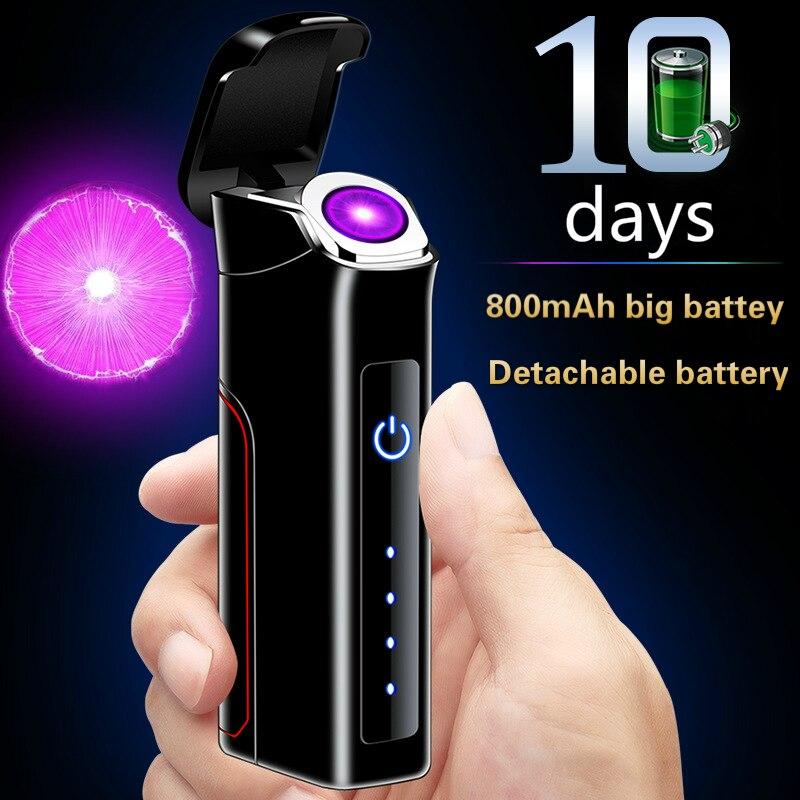 New Novelty Encircle Arc Plasma Lighter Removable Big Battery Electric Usb Lighter Windproof Rechargeable Cigarette Lighter Man