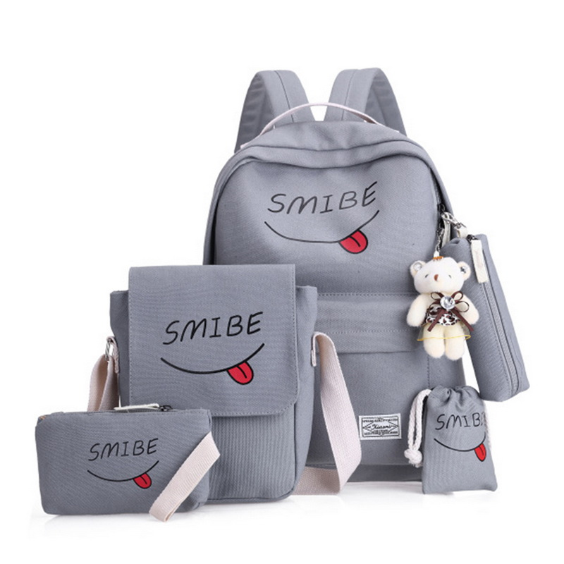 Litthing Printing Backpack School-Bags Canvas Teenage-Girls Smile Women Mochila for Mujer