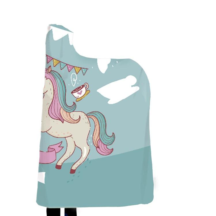 Winter Blanket Sweatshirt Unicorn Cartoon 3D Printed Plush Hooded Blanket for Adults Kid Warm Wearable Fleece Throw Blankets 15