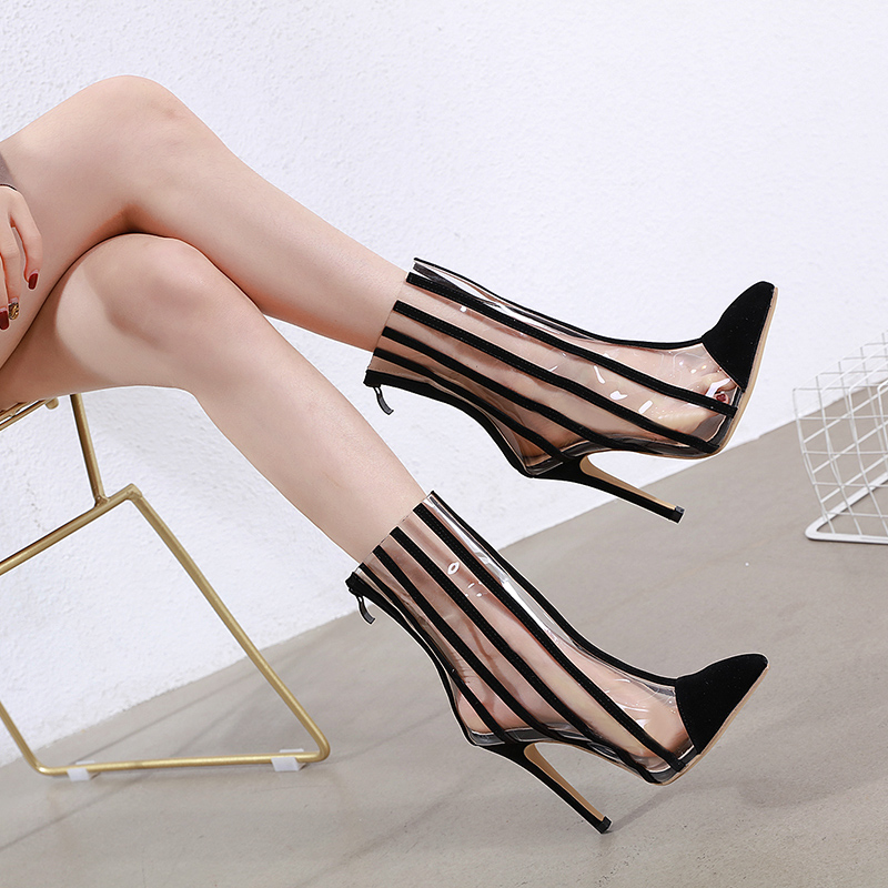 Купить с кэшбэком NIUFUNI PVC Transparent Ankle Boots Pointed Toe Zip Stiletto High Heels Women Black Striped Boots Shoes Rain Boots Botas mujer