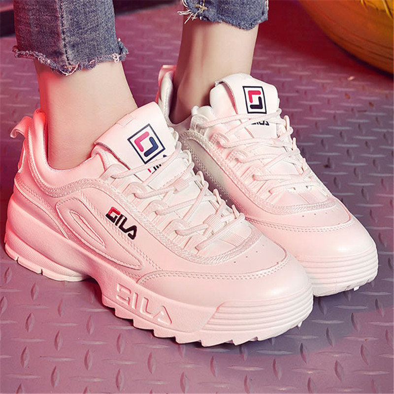 new filas Woman Casual Shoes Vulcanize sneakers Femme Spring Autumn brand white platform Lace-Up White Breathable women shoes