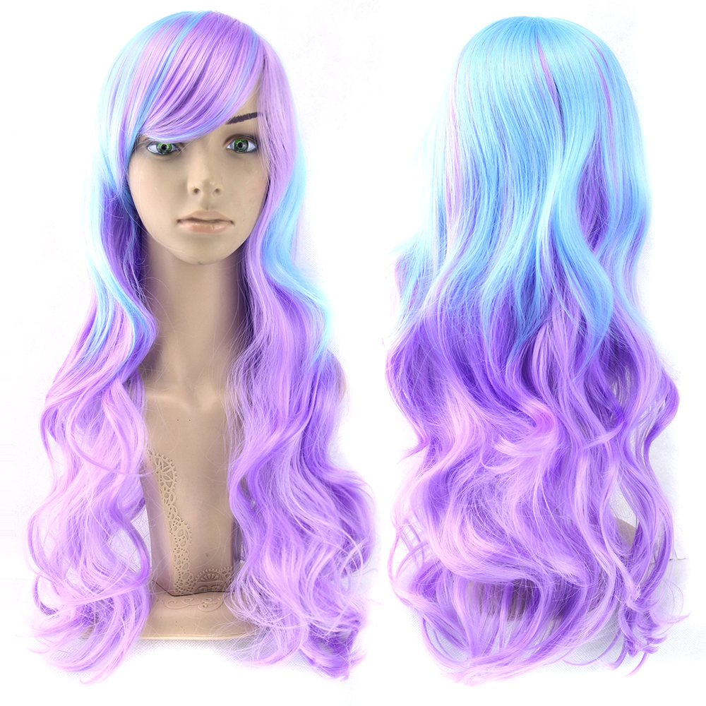 Soowee 13 Colors Wavy Women Wig High Temperature Fiber Synthetic Hairpiece Long Ombre Hair Cosplay Wigs