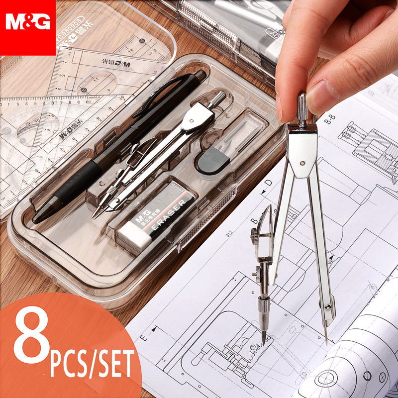 8pcs Set Geometry Protractor Drawing School Eraser Compasses Set Math Eraser Ruler For Students High Quality