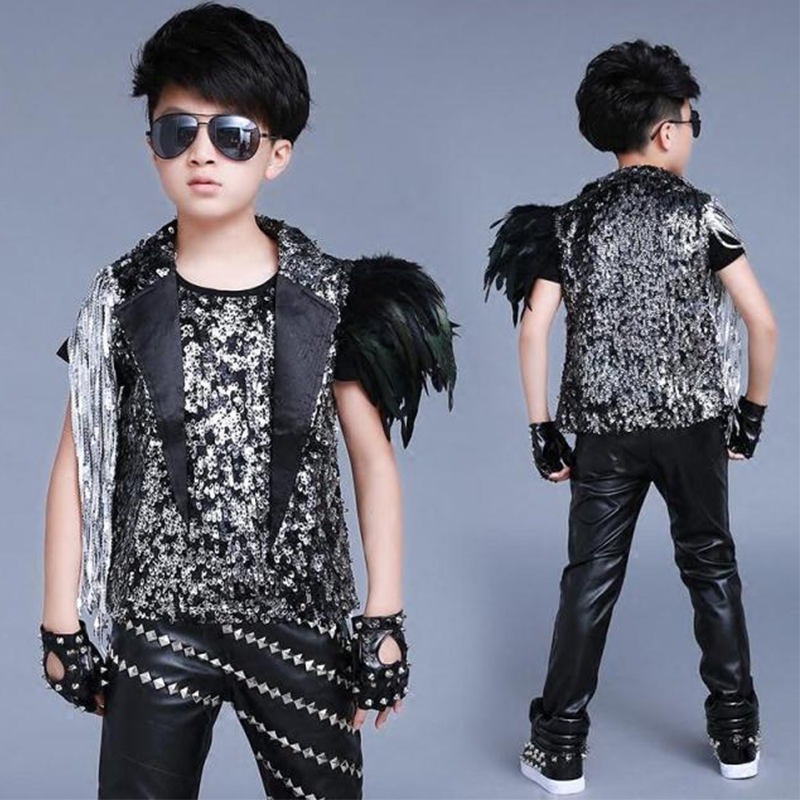 Jazz Costume Boy Silver Tassel Sequined Vest Jacket Hip Hop Dance Outfit Street Dancing Clothes Stage Performance Wear DNV11850