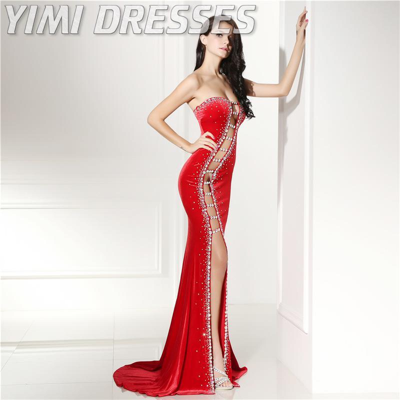 Sexy corte vermelho veludo vestidos de noite longo beading sereia baile de formatura vestidos de festa plus size formal vestido feminino elegante vestidos de gala - 2