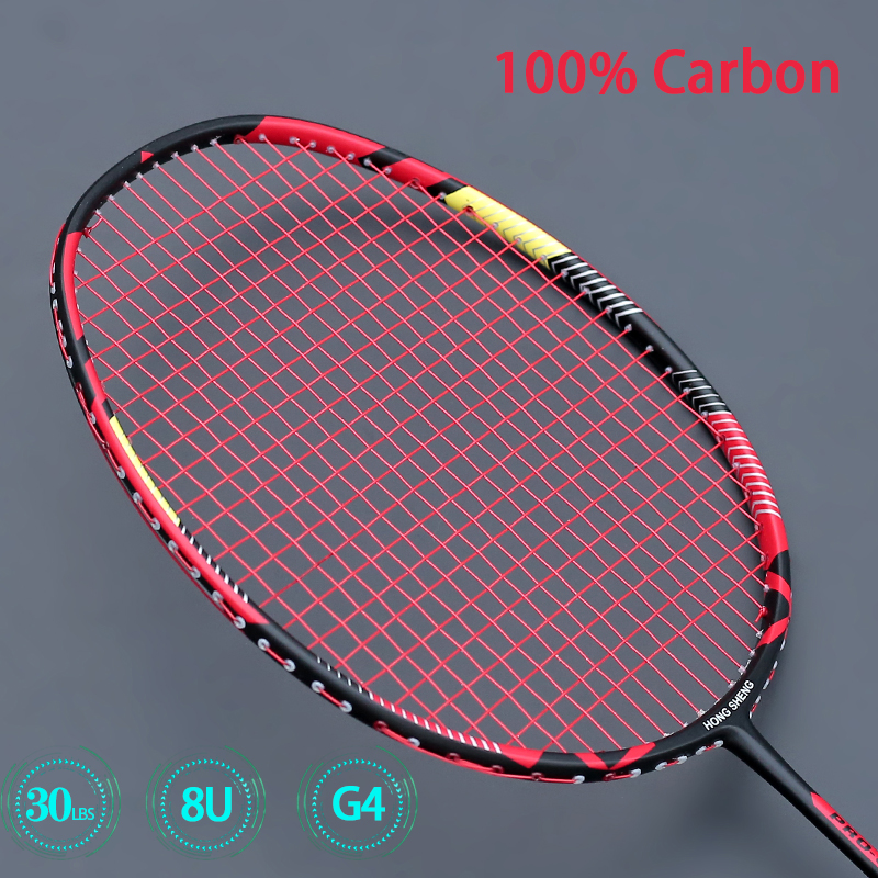 Super Light 8U  Professional Carbon Badminton Racket Strung Carbon Fiber Rackets G4 Max 30LBS Racquet With String Bags Padel
