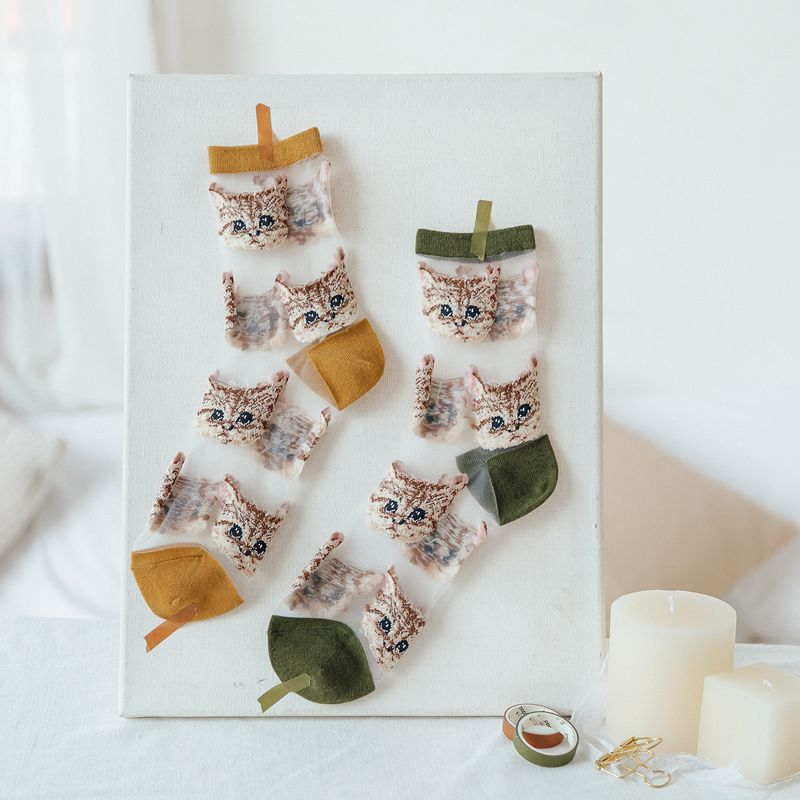 Women Socks 2020 New Girl Women Fashion Thin Funny Socks Women Breathable Transparent Cute Women Cartoon Cats Socks Korea Style