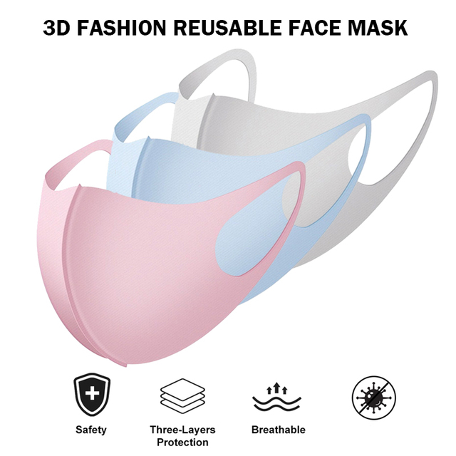 3PCS Reusable Mask Face Masks Care Face Washable PM 25 Anti-pollution flu Mouth Mask 3D Ice Silk Cotton Adult Mask