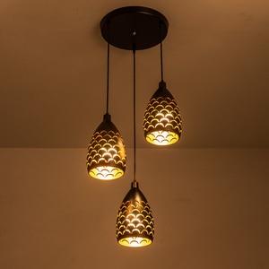 Image 5 - Schilferige Hollow Stijl Ijzer Plafond Droplight Led Ceilight Licht Koord Hanger Lampen Voor Woonkamer Restaurant Stairway Verlichting
