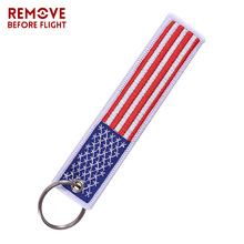 1PC Motorcycles Keychain US Flag Cars and Patriotic with Key Ring OEM Embroidery Tag llavero Gifts Tags