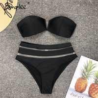 Simplee Sexy 2 piezas playa bikini mujeres traje de baño alta cintura malla rayada mujer traje de baño ver a través de negro bodycon traje de baño 2019