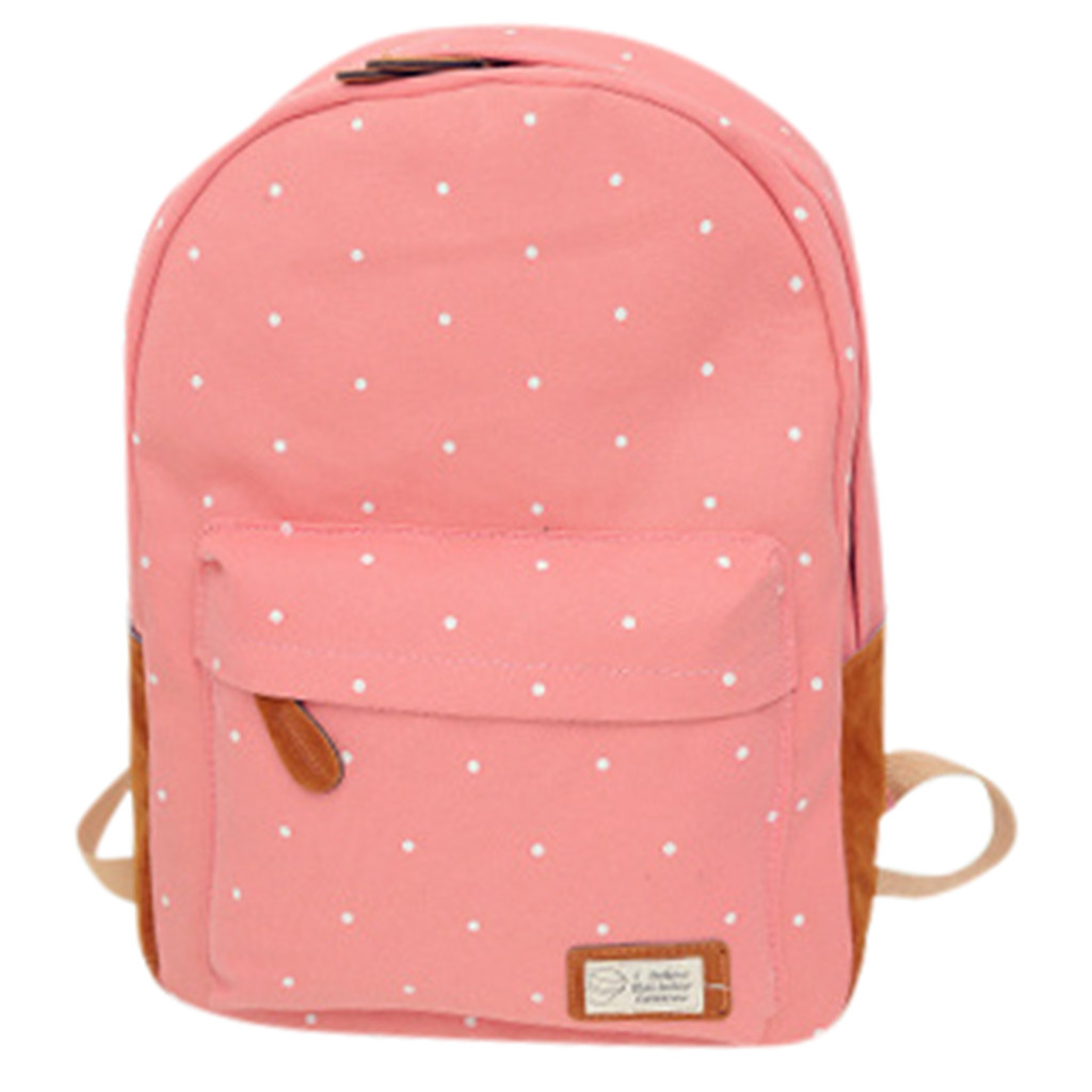 Women Backpack Book-Bags Canvas Teenage Large-Capacity Preppy-Style Girls Dot for
