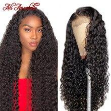 Onda de água brasileira frente do laço perucas de cabelo humano para as mulheres preplucked hairline ali annabelle 13x4 água encaracolado laço frontal perucas