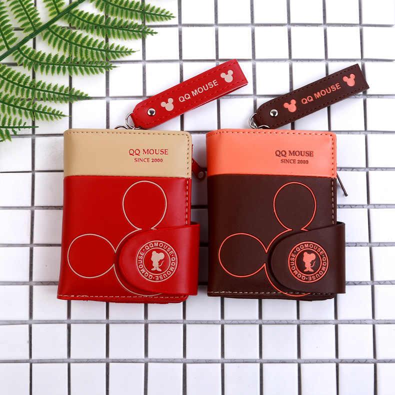Disney cartoon mickey maus geldbörse pu münze falten frauen nette mappe paket dame Karte Peeling brieftasche halter karte Kupplung