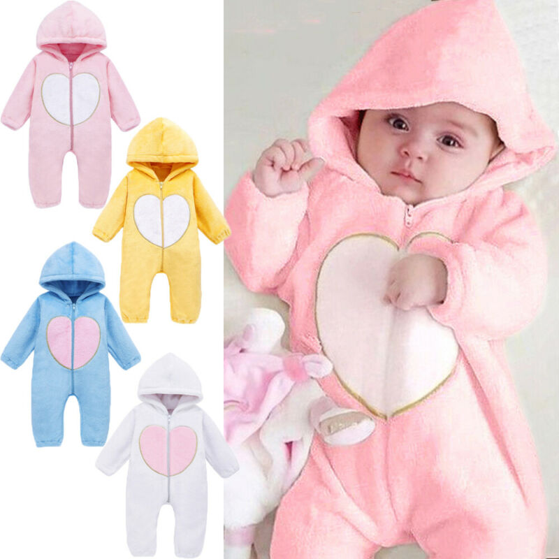 Newborn Baby Boy Romper Hooded Jumpsuit Flannel Rompers Autumn Winter Warm Outfits Plush Clothes
