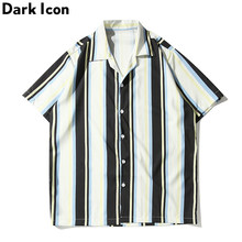 Dark Icon Black white Striped Hip Hop Shirt Men Turn-down Collar Hawaiian Shirts Beach Vacation Men's Shirt Streetwear Clothing(China)