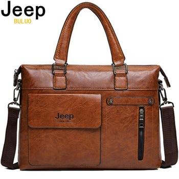 JEEP BULUO Brand Famous Designer  Men Business Briefcase PU Leather Shoulder Bags For 13 Inch Laptop Bag Big Travel Handbag 6013
