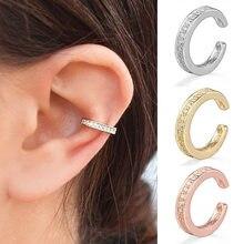 1 sztuk moda cyrkonia Ear mankietowe kolczyki urocze proste okrągłe nausznice dla kobiet biżuteria geometryczna 2020