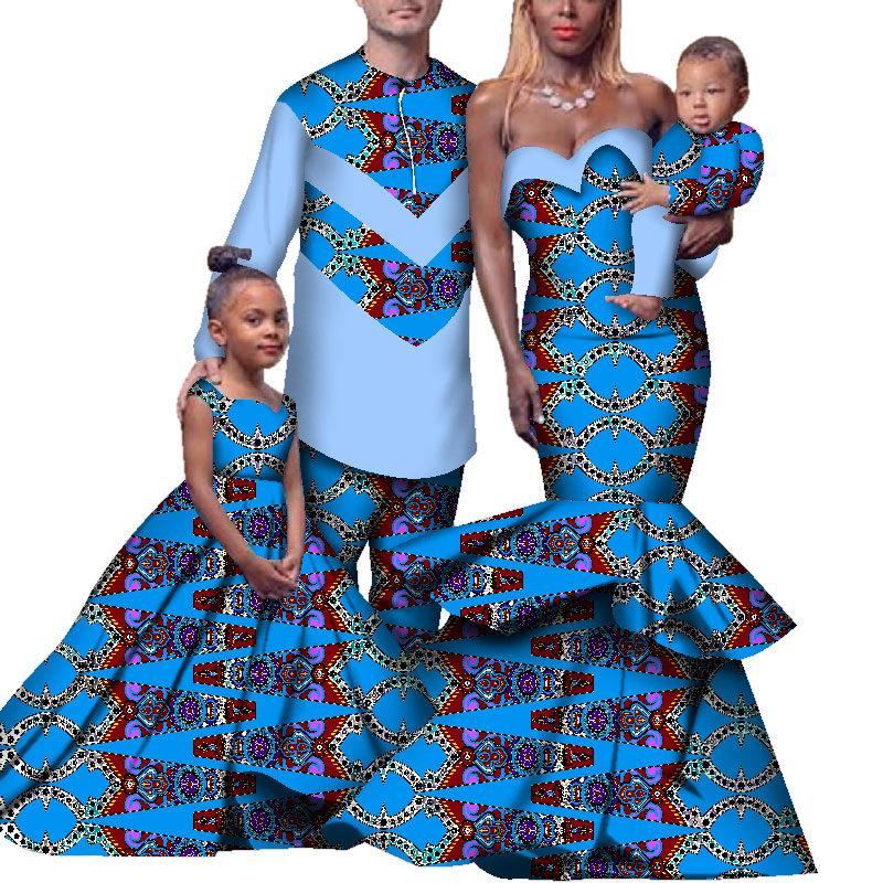 4pcs Set African Dresses Women Bazin Riche African Clothing Men Top And Pants African Couple Clothes Childer Clothes WYQ265