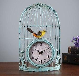 Настенные часы в виде птицы в клетке, винтажный декор в античном стиле