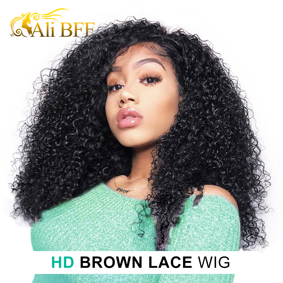 Kinky Curly Wigs Human-Hair-Wigs Lace-Frontal Ali Bff 180%Density for Women HD Full-Lace