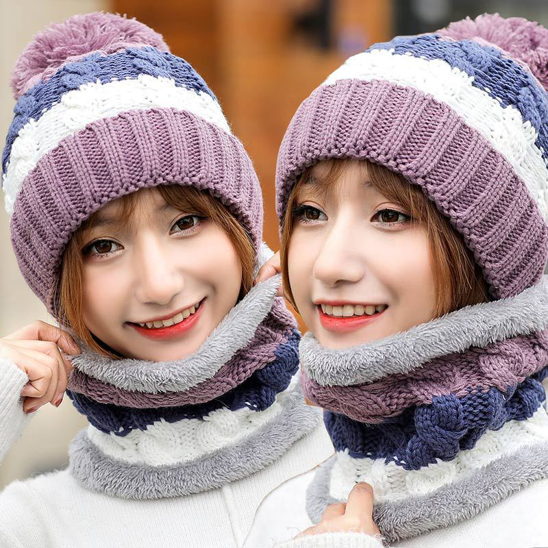 Knitted Winter Hat Scarf  Set For Women Pom Pom Beanies Set Of Hat And Scarf For Women Thick Warm Soft Winter Accessories