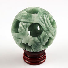 22 inch Зеленое Пятно jade balls include ball carving sphere