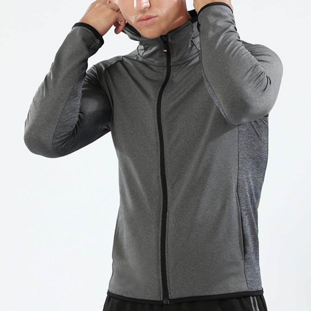 Outdoor Sport Jacket Men Fitness Solid Long Sleeve Hooded Bodybuilding Tight-drying Tops Stweetwear Spring Autumn Jackets