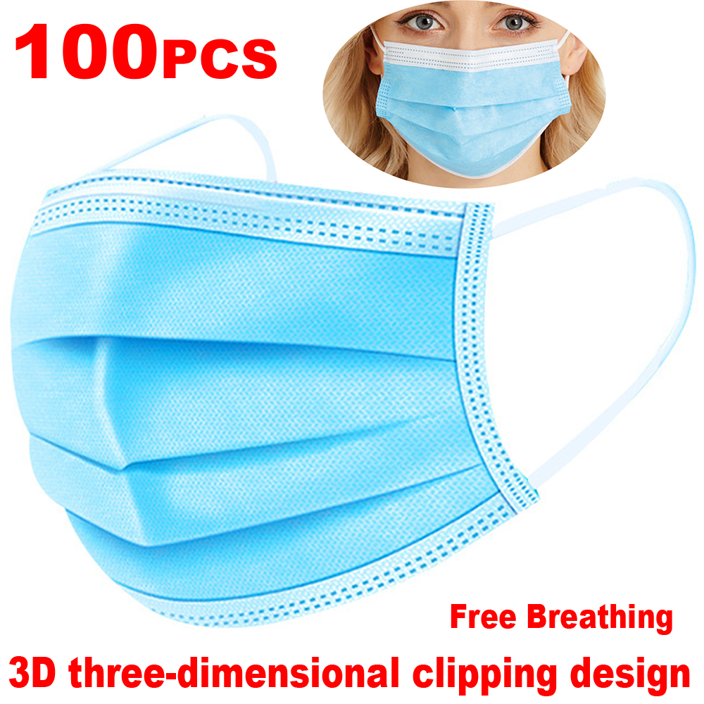 Fast Delivery Hot Sale 3-layer Mask 50pcs Face Mouth Masks Non Woven Disposable Anti-Dust Meltblown Cloth Masks Earloops Masks