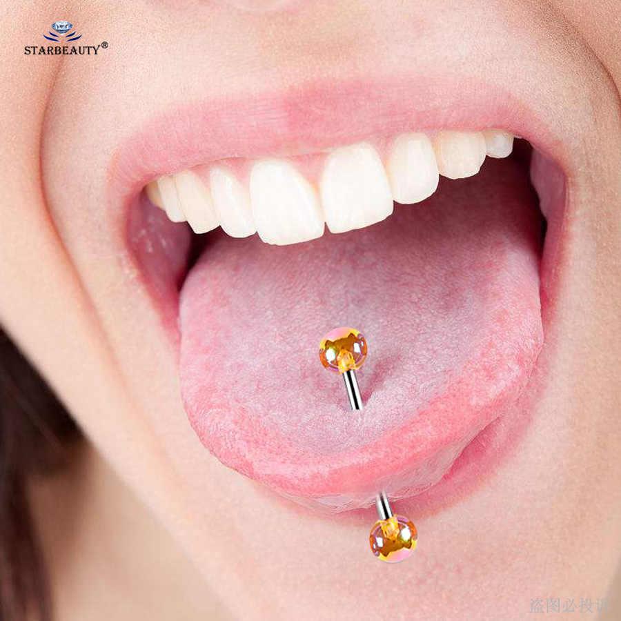 Starbeauty 6 Cái/bộ Vẻ Vang Bóng Acrylic Lưỡi Xỏ Langue Vòng Bao Quan Hệ Tình Dục Bằng Miệng Lưỡi Nhẫn Xoắn Xỏ Núm Vú Trang Sức